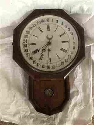 Rosewood Schoolhouse Calendar Clock