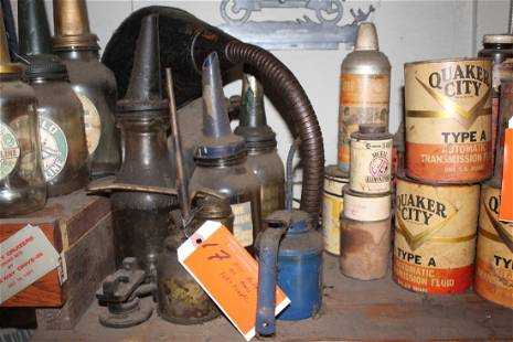 Oil bottles and cans