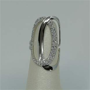 Ladies 18k white gold diamond double oval ring