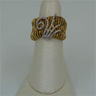 Ladies 18kt yellow gold wide wire fashion ring