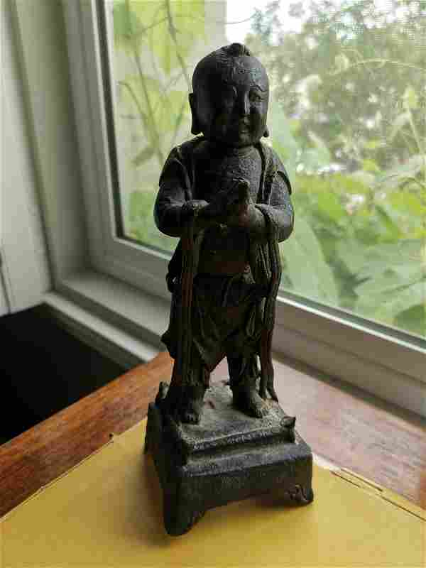 Antique Chinese Bronze Statue of A Boy