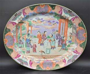 Old Antique Chinese Ceramic Serving Tray, Asian Art