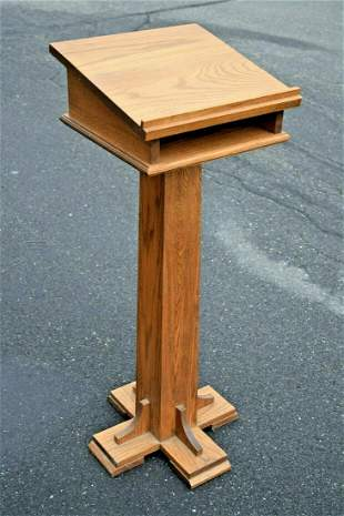 Antique Oak Ambo, Lectern, Pulpit, Reader Stand, Book