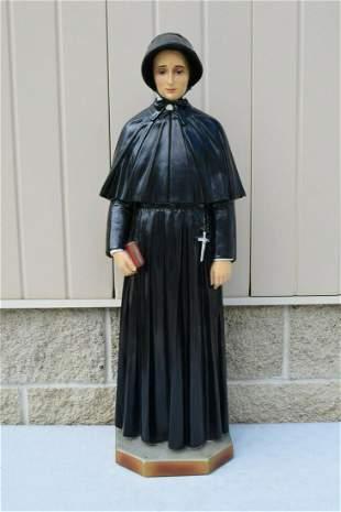 Antique Plaster Statue of St. Elizabeth Ann Seton, 32
