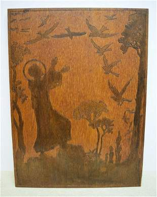 Wood St. Francis with Birds Panel Wall Hanging