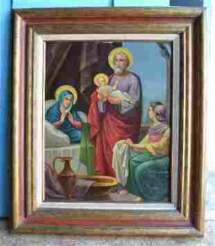 Older Vintage Icon Painting of The Holy Family