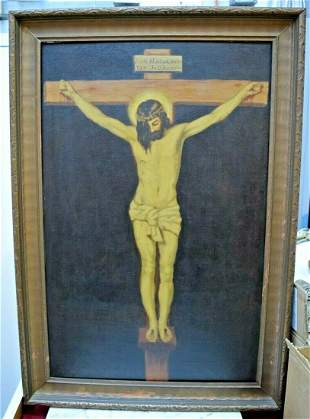 Antique Framed Oil Painting on Canvas, The Crucifixion