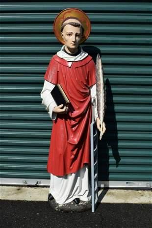 """Fine Older Wood Carved Statue of St. Laurent, 63 1/2"""""""