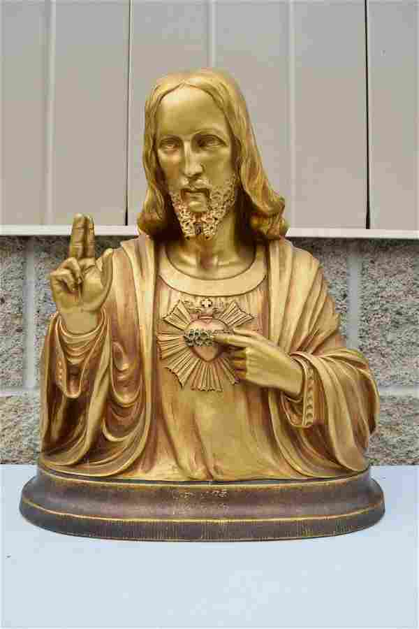 Plaster Bust Church Statue of The Sacred Heart of Jesus