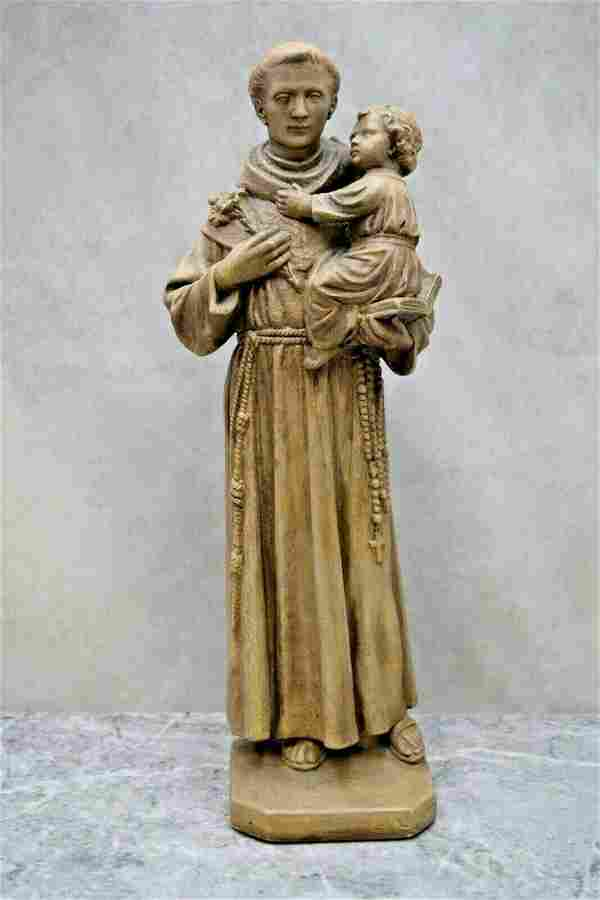 Older Plaster Church Statue of St. Anthony with Jesus