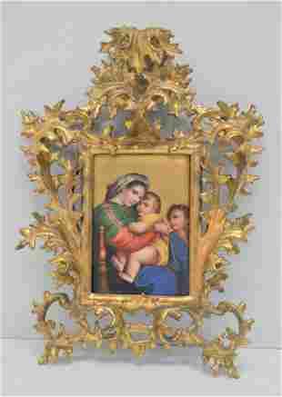 """Painted Porcelain """"Madonna della Seggiola Raffello"""""""