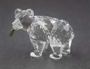 Retired Swarovski Crystal Grizzly Bear Cub with Salmon