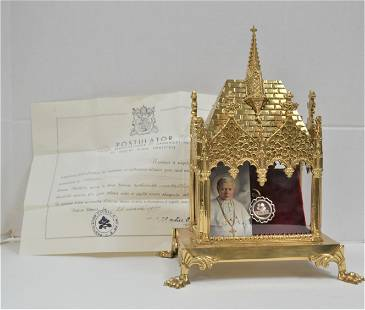 Reliquary Shrine with Relic and Document of Pope Pius X