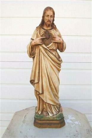 Older Plaster Church Statue of Sacred Heart of Jesus