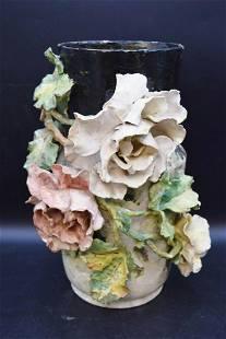 """Handmade Glazed Ceramic Flower Vase, 16"""" ht."""