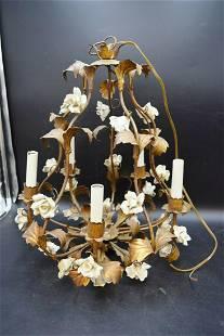 Vintage Handmade Hanging Floral Chandelier Light