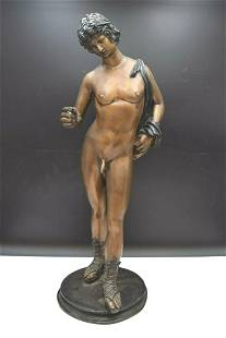 Older Bronze Statue of a Naked Figure (The Narcissist)