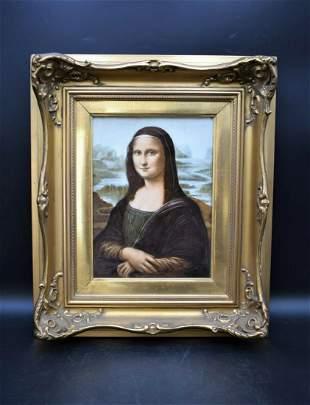 The Mona Lisa, Antique Framed German Porcelain Portrait