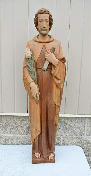 """40"""" Hand Carved Wood Statue of St. Joseph from Italy"""