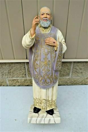 Nice Older Hand Painted Plaster Statue of Padre Pio