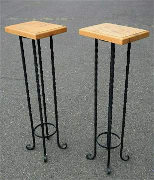 Pair of Wrought Iron Side Tables with Wood Tops