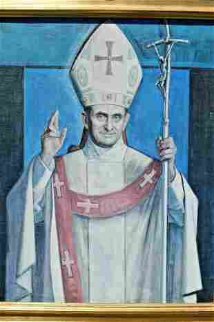 Framed Painted Portrait of Pope Paul VI on Canvas