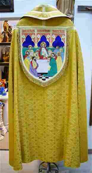 Embroidered Gold Brocade Church Vestment Cope & Stole