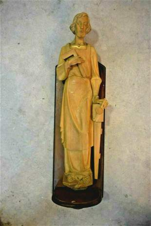 Wood Carved Statue of St. Joseph with Wall Pedestal