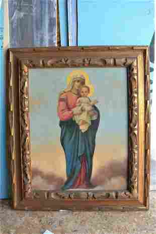Older Icon Painting of Mary, Madonna with Child Jesus