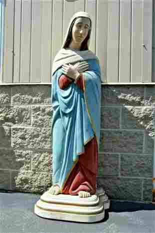 """Older Wood Carved Statue of Mary, 61"""" tall"""