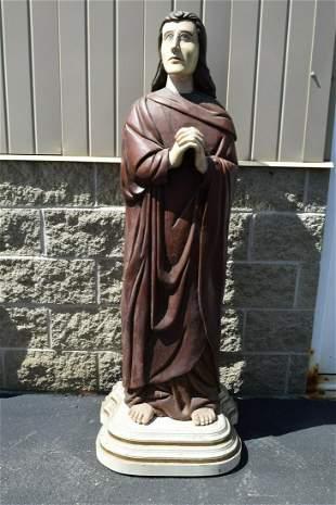 """Older Wood Carved Statue of St. John, 61""""ht."""