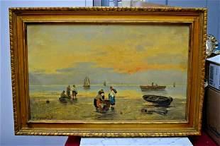 Framed Oil Painting on Canvas, Coast Scene by D. Hysuin