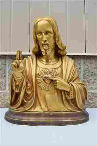 Older Plaster Bust Statue of Sacred Heart of Jesus