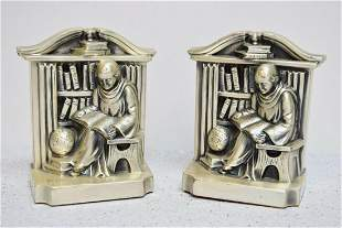 Pair of Vintage Metal Monk Church Book Ends