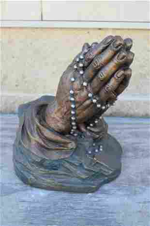Plaster Statue of Praying Hands Holding a Rosary