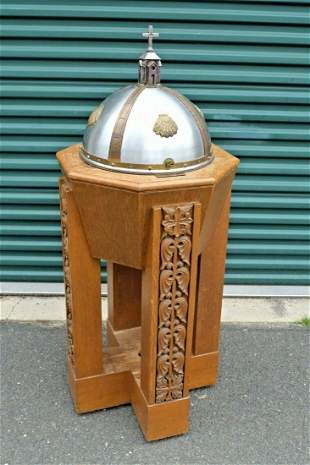 Antique Wood Baptismal Font with Metal Cover