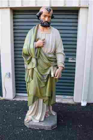 Lifesize 6' Tall Plaster Church Statue of St. Peter