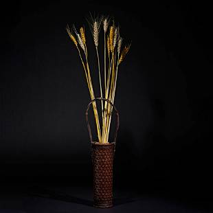 Japan, bamboo and wood material, vase