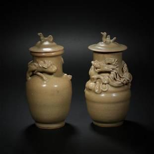 China, Song Dynasty, celadon, dragon and tiger lid jar