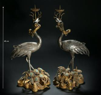 China, Qing Dynasty, gilt silver, crane and pine tree
