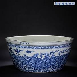 China, Ming Dynasty Xuande, dragon decoration, blue and