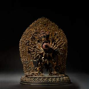 A gilt bronze Buddha statue in the Qing Dynasty