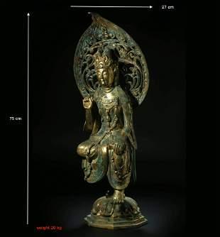 China, Tang, gilt bronze, three-body, bronze Buddha