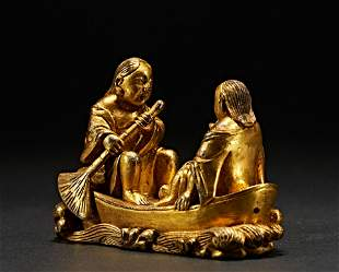 Qing dynasty, gilt bronze study room paperweight