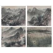 China, Fu Baoshi, 《Four Landscape》