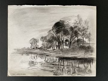 Piet Mondrian (after) Trees by a river