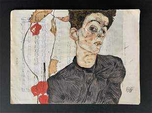 Egon Schiele (after)Portrait with Chinese Lantern Plant