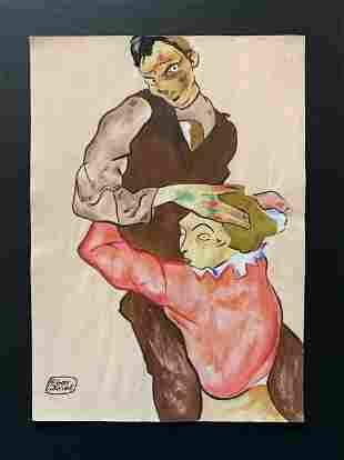 Egon Schiele (After) Lovers - 1914
