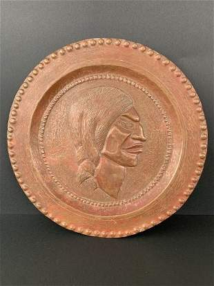 Antique copper plate high relief Apache Indian ornament