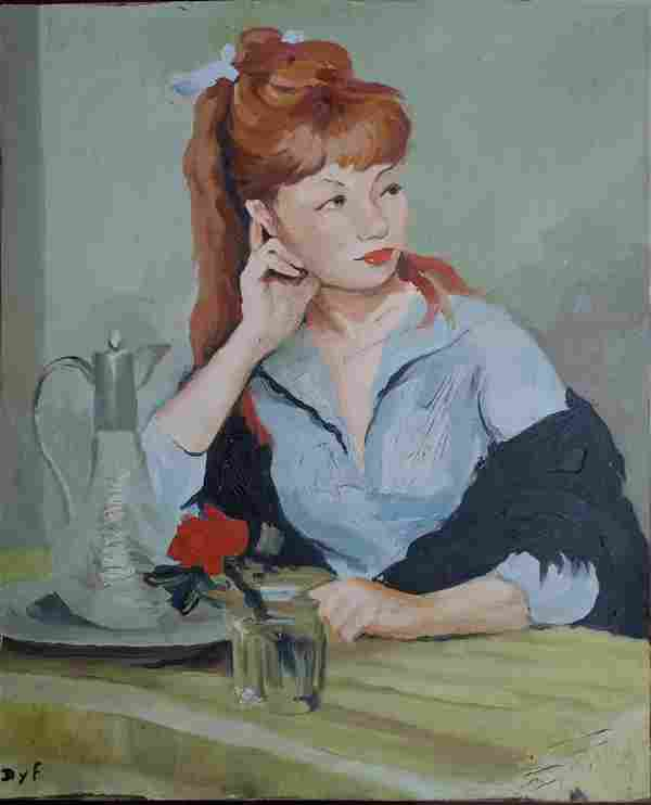 Marcel Dyf (After) Claudine and the Red Rose